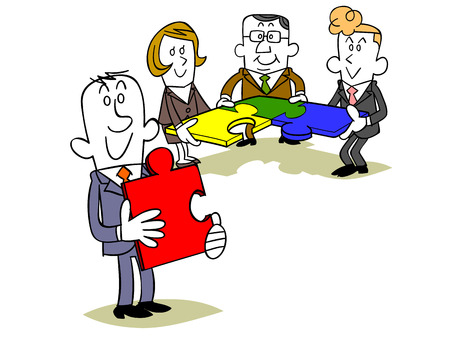 new opportunity: Puzzle pieces with a team of business people