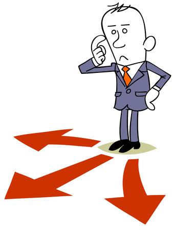 cruce de caminos: Hombre de negocios en la encrucijada