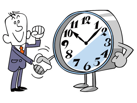 office use: Businessman shaking hands with monsters of time