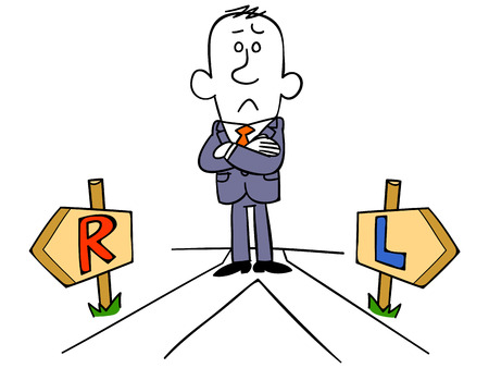 fork in the road: Businessman bother with left or right