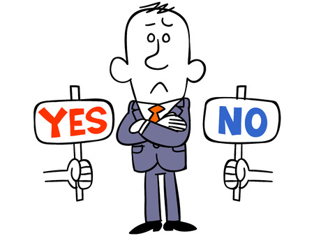 Businessman bother with YES or NO Çizim