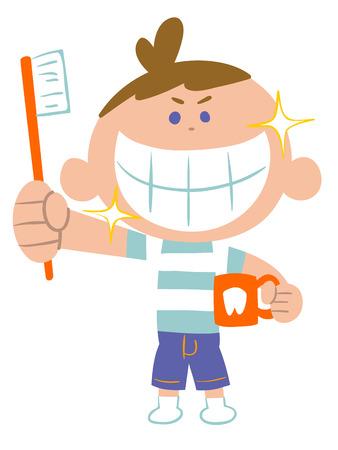 歯磨き粉に少年  イラスト・ベクター素材