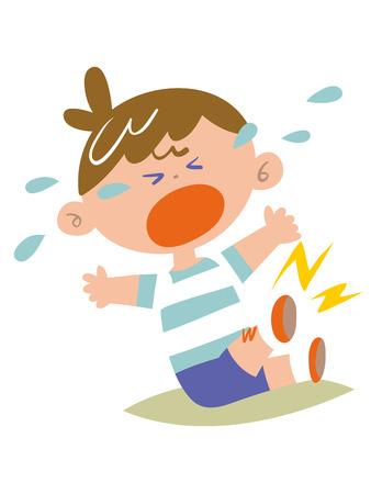 fondo para bebe: Los ni�os lloran rodilla lesionada Vectores
