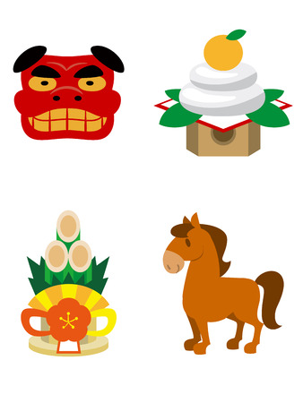 kadomatsu: Set of illustrations of New Year Illustration