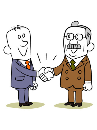 old business man: Business people hand shake