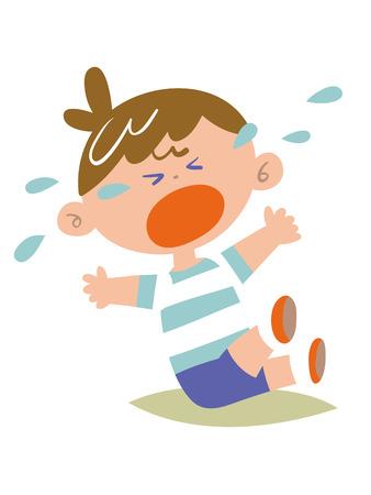 dolore ai piedi: I bambini piangono lamento impastare Vettoriali