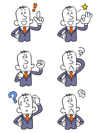 Expressie van zes verschillende zakenman
