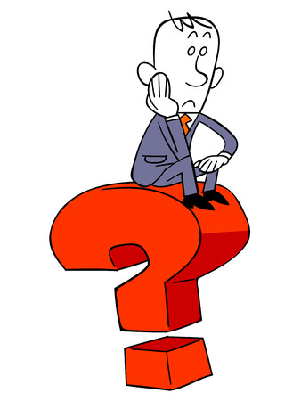 Business man sitting on question mark