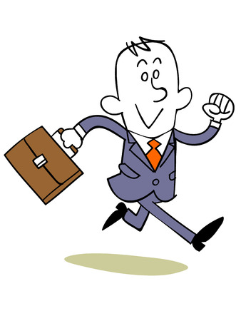 the delayed: Businessman running