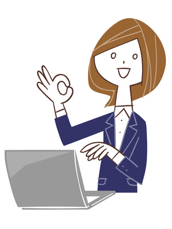 Women give a sign of OK using a PC
