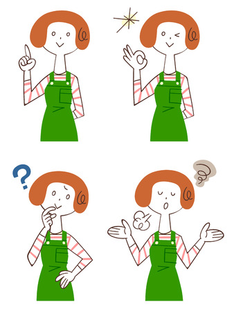 give up: Pose and expression of four women wearing the apron