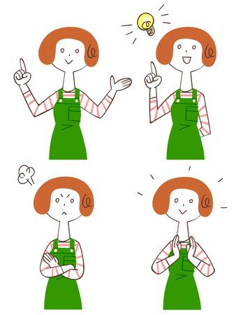 fiatal nők: Pózok és arckifejezések négy fiatal nők Illusztráció