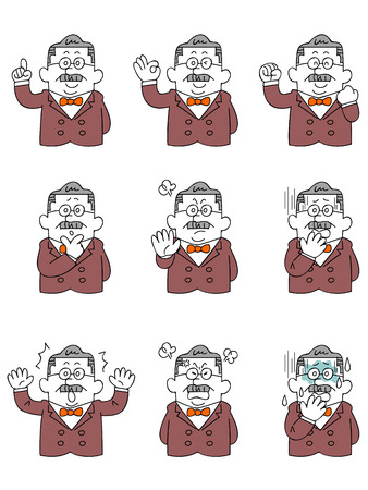 scold: Men of wealthy or president  Gesture and facial expression of nine