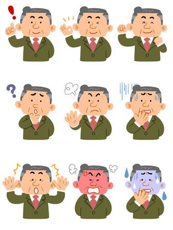 Business man Expressie van negen