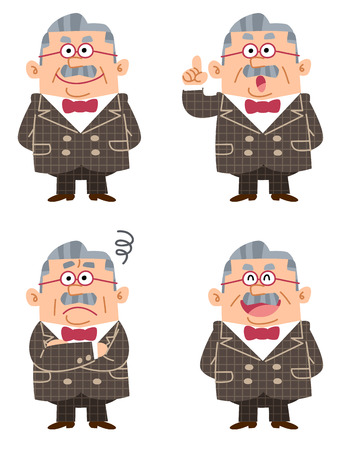 Pose and expression of four types of the wealthy man in a suit Vector
