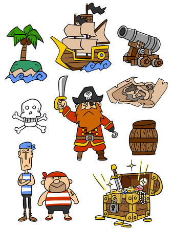 Illustration set of pirate-related
