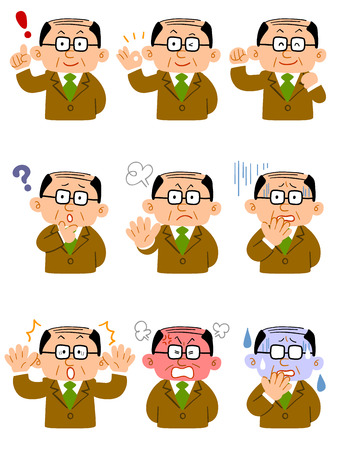 scolded: Business man with glasses  Expression of nine