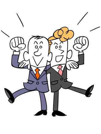 ビジネスマンの同僚と肩に参加します。