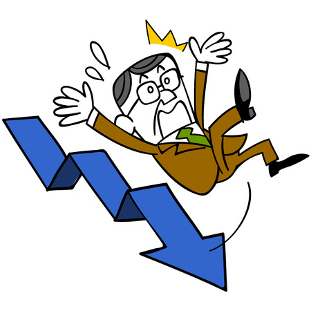 Middle-aged businessman with falling arrow descending