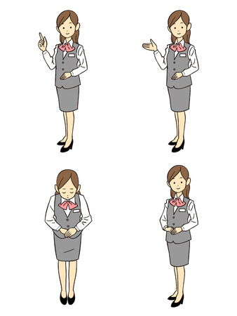 clerk: Gesture and pose four types of female employees of uniform gray Illustration