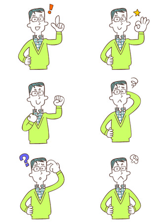 forgetfulness: Pose and gesture of six dad