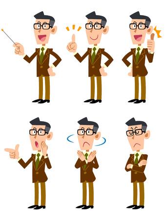 ジャケットを着てメガネの男性  イラスト・ベクター素材