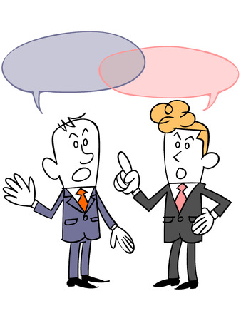 Businessman to fight a discussion with colleagues 向量圖像