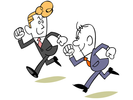 tiring: Businessman to compete with colleagues Illustration