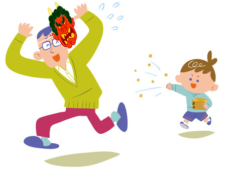 escapes: Dad escapes beans sown in traditional events,  Setsubun  of Japan