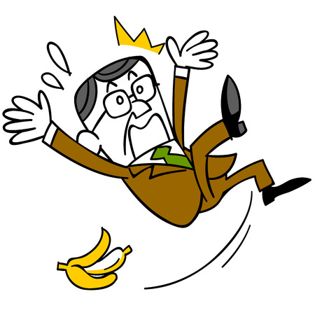carelessness: Middle-aged businessman who slip and fall in the banana peel