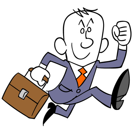 lightly: Businessman runs lightly
