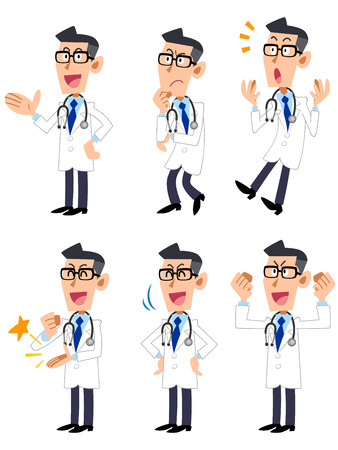 cute cartoons: Doctor  Gesture and pose of the six Illustration