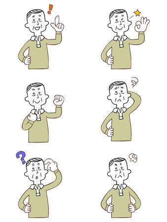 assentiment: Pose et geste de six grand-p�re