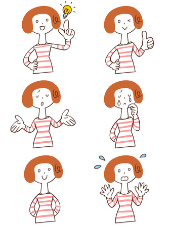 Pose and gesture of six women