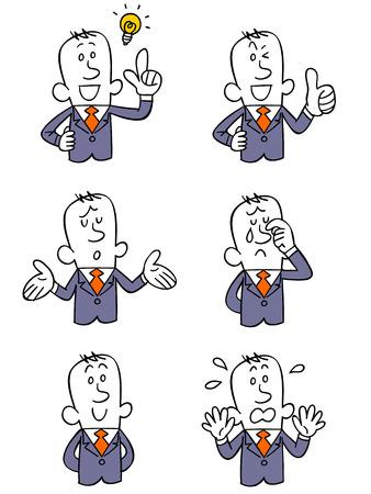 얼굴 표정 및 사업 사람들의 6 가지 유형의 포즈