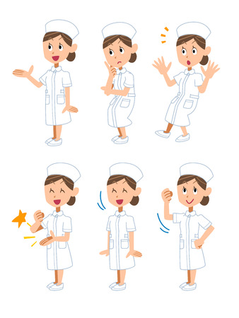 Gesture and pose of the six women of the nurse