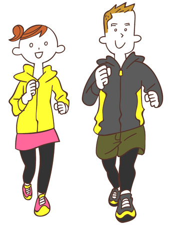 anti aging: Young men and women to jogging Illustration