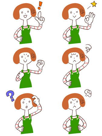 Pose y gesto de seis mujeres con delantal Foto de archivo - 28415815
