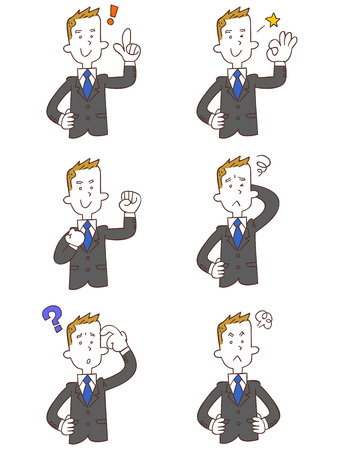 rookie: Pose and gesture of six young businessman