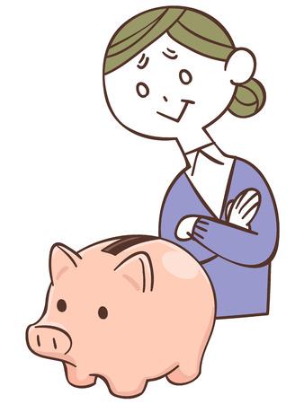 household money: Piggy bank and older women