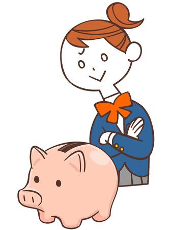 schoolgirls: Piggy bank and schoolgirls Illustration