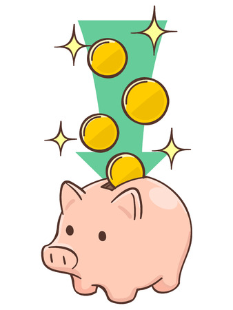 Pig piggy bank with coins Illustration