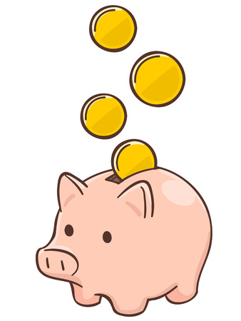 moneymaking: Pig piggy bank with coins Illustration