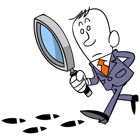Footprint and magnifying glass and businessman