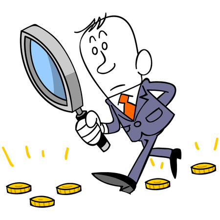 lucrative: Magnifying glass and coins and businessman