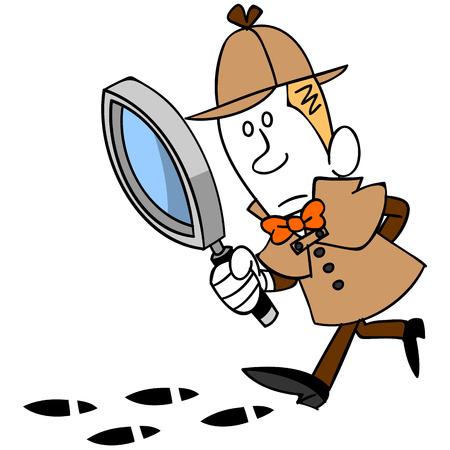 Voetafdruk en detective Stock Illustratie