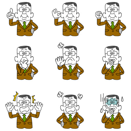 cartoons outline: Gesture and pose of Uncle businessman nine