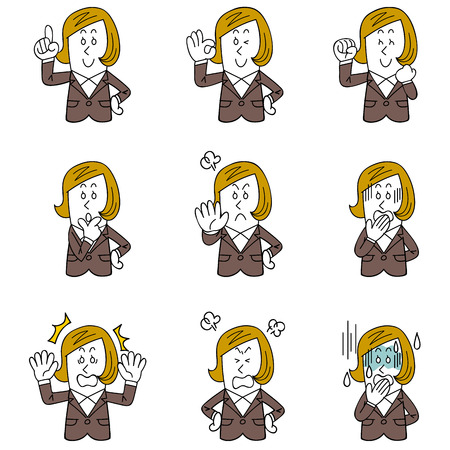 Gesture and pose of nine women working in the office