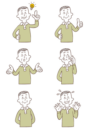 Gesture and pose of the six types of Grandpa Vector