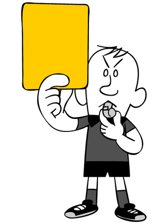 Referee to issue a yellow card Stock Illustratie